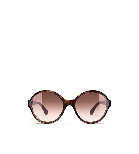 CHANEL Round sunglasses (Dark+havana