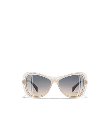 CHANEL Oval cat-eye sunglasses (Milky+olive