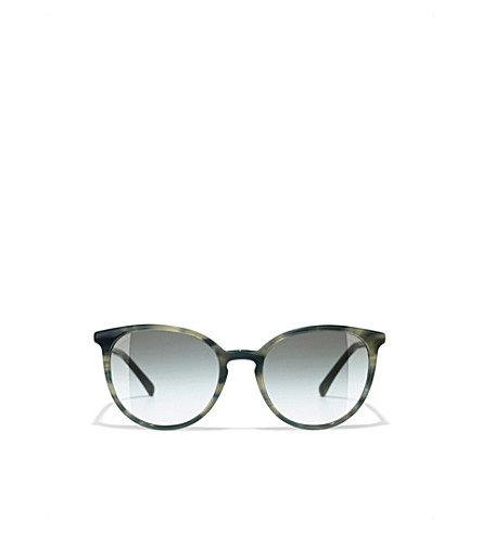 CHANEL Butterfly sunglasses (Green+havana