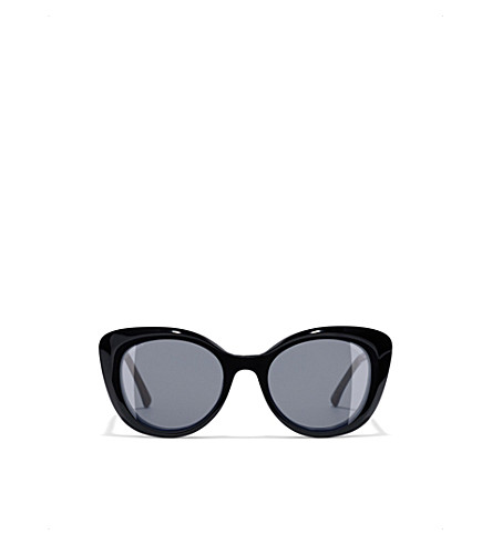 CHANEL Clip-on sunglasses (Dark+havana