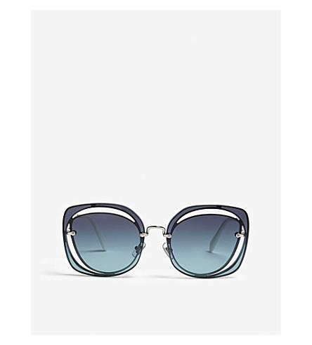 4389e319b4d MIU MIU Scénique MU54SS irregular square-frame sunglasses (Silver