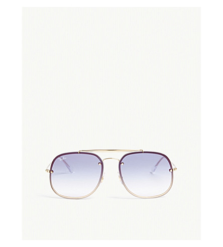 RAY-BAN RB3583 square-frame sunglasses (Gold
