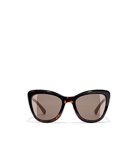 CHANEL Clip On sunglasses (Dark+havana