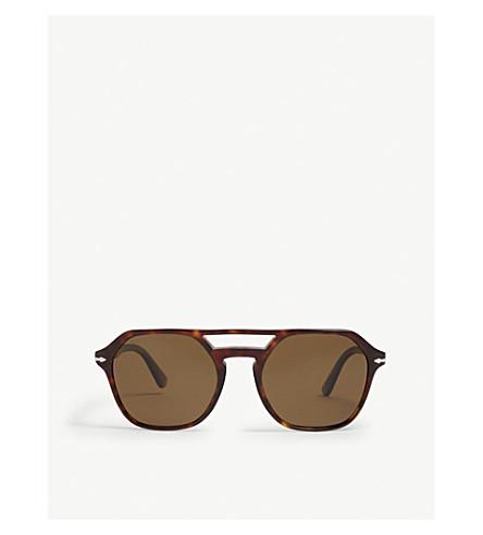 PERSOL Po3206 irregular-frame sunglasses (Havana