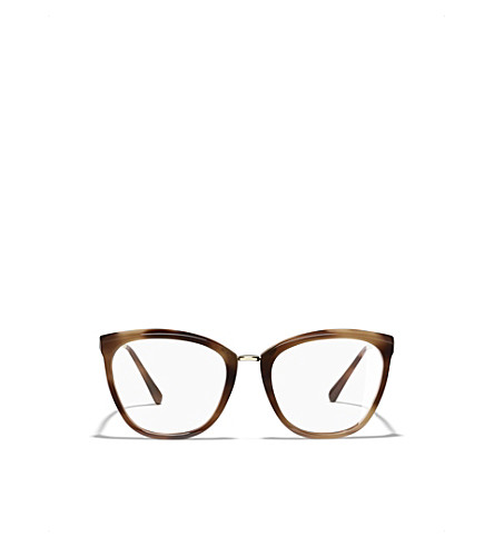 CHANEL Havana 3381 cat eye glasses frames (Brown