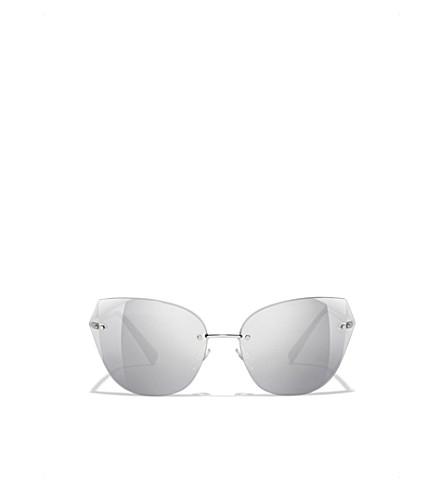 CHANEL Cat eye sunglasses (Silver