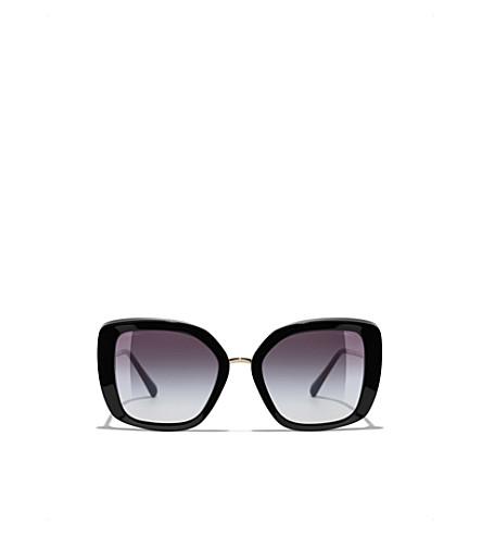 CHANEL 不规则方形太阳镜 (黑色