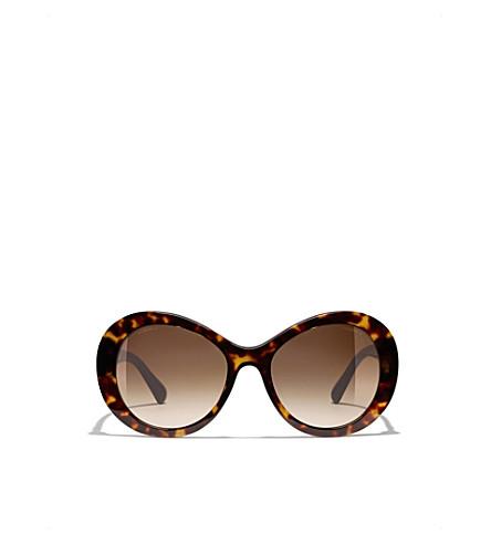 CHANEL Oval sunglasses (Dark+havana