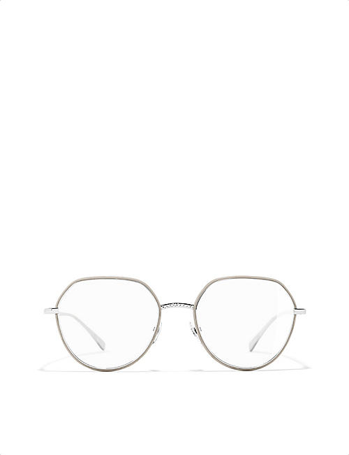 CHANEL Irregular metal glasses