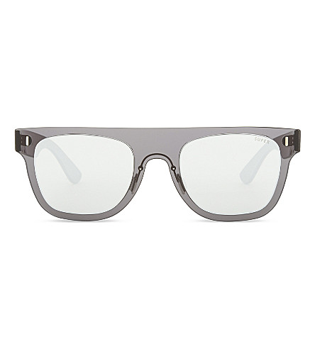 RETRO SUPER FUTURE Mirror square-frame sunglasses (Silver+black
