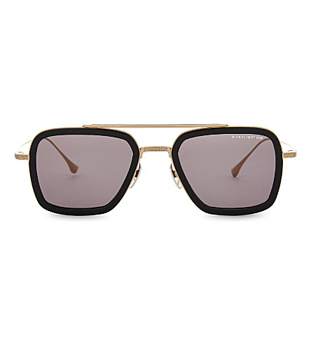 DITA Flight.006 square-frame sunglasses (Black+white+gold