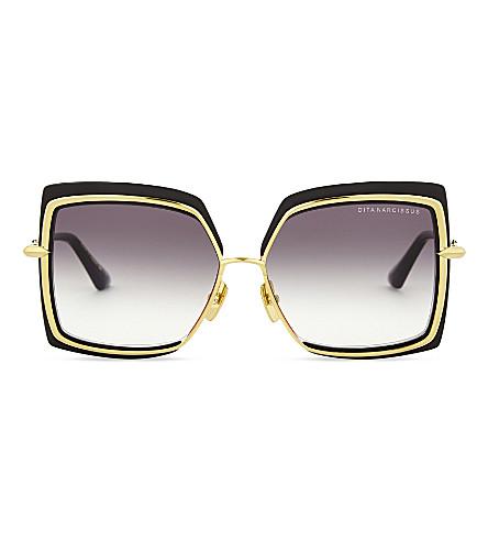 DITA Narcissus square-frame sunglasses (Black+yellow