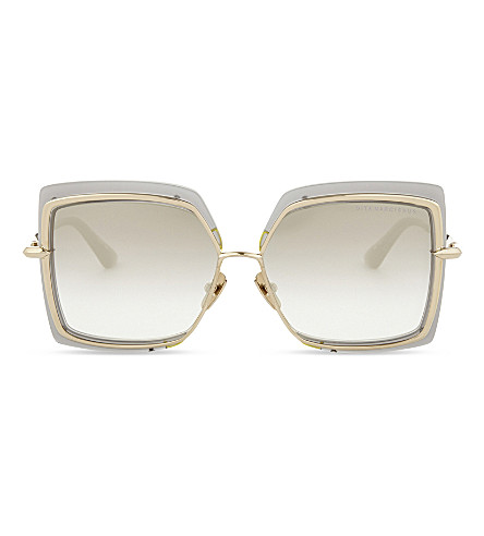 DITA Narcissus square-frame sunglasses (Grey+crystal