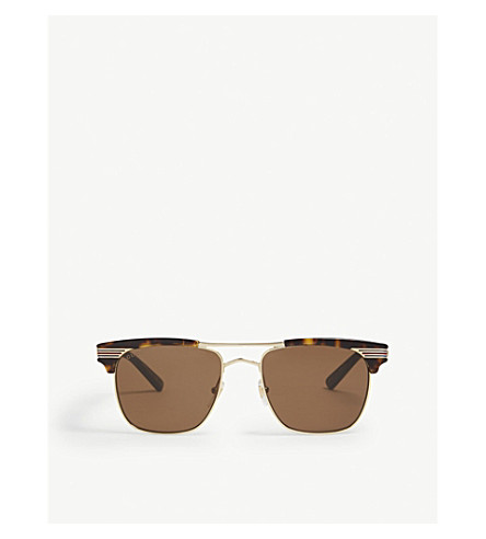 GUCCI Gg0287s rectangle-frame sunglasses (Gold