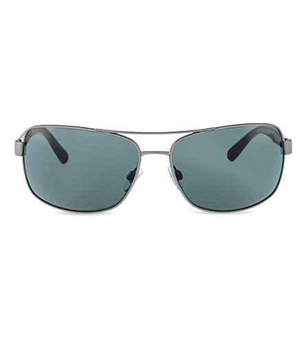GIORGIO ARMANI Gunmetal aviator sunglasses (Matte+gunmetal