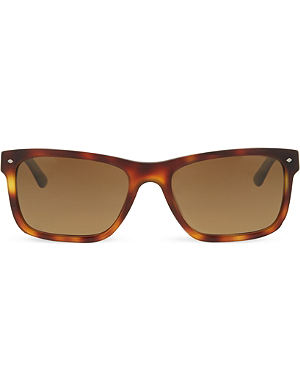 GIORGIO ARMANI Havana rectangle sunglasses