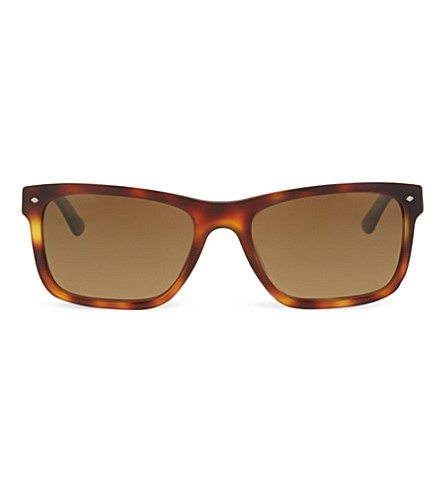 GIORGIO ARMANI Havana rectangle sunglasses (Brushed+havana