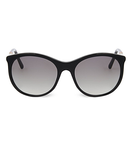 BURBERRY Oversized round-frame sunglasses (Black