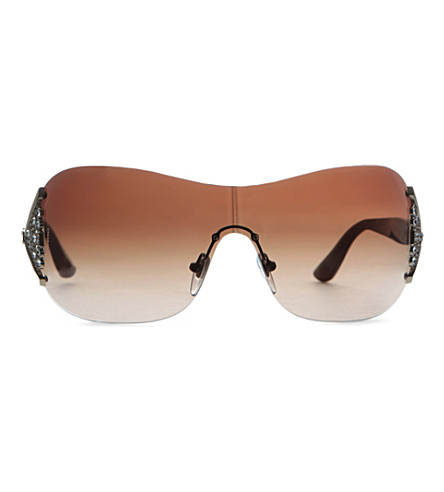 BVLGARI Embellished square sunglasses (Pale+gold