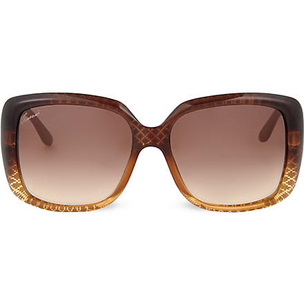 GUCCI Lattice print oversized sunglasses (Copper