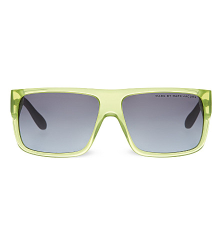 MARC JACOBS Spotted rectangle sunglasses (Grey+green