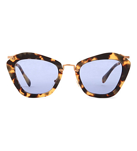 MIU MIU Havana cat-eye sunglasses MU10NS (Yellow havana