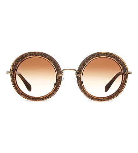 MIU MIU MU13N round sunglasses (Brown/glitter+silver