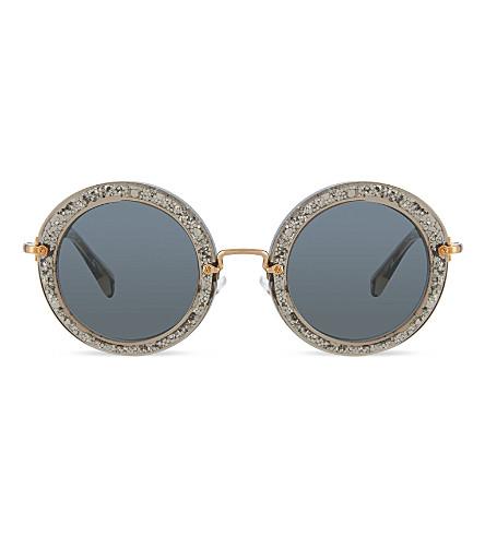 MIU MIU Mu13n smoke & glitter round sunglasses (Smoke/glitter silver