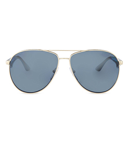 PRADA PR53QS60 Pale gold pilot sunglasses (Pale+gold