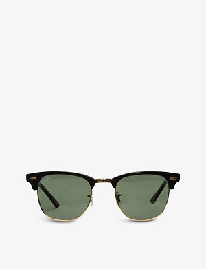 RAY-BAN Ebony Clubmaster sunglasses with green lenses RB3016 49
