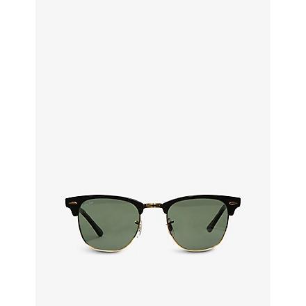 RAY-BAN Ebony Clubmaster sunglasses with green lenses RB3016 49 (Ebony/ arista