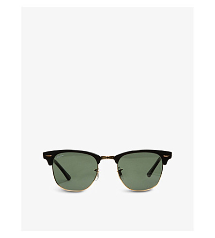 RAY-BAN Ebony Clubmaster sunglasses with green lenses RB3016 49 (Ebony/+arista