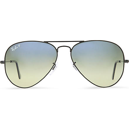 RAY-BAN Original aviator metal-frame polarised sunglasses with blue gradient lenses RB3025 58 (Black