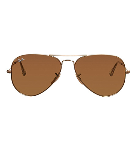 RAY-BAN Original aviator matte metal-frame sunglasses with brown lenses RB3025 58 (Matte+gold