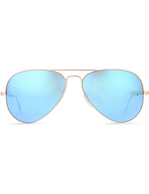 RAY-BAN Original aviator metal-frame sunglasses with blue lenses RB3025 58