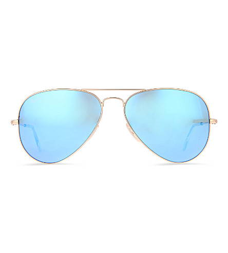 RAY-BAN Original aviator metal-frame sunglasses with blue lenses RB3025 58 (Matte+gold