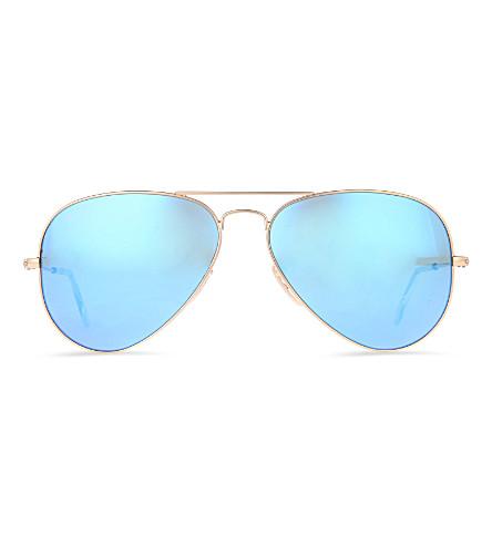 RAY-BAN 原始的飞行员金属框架太阳镜与蓝色透镜 RB3025 58 (哑光 + 金色