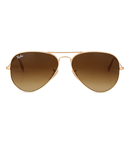 RAY-BAN Matte gold aviator sunglasses (Matte gold