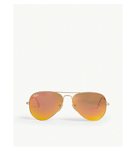 RAY-BAN Original aviator metal-frame sunglasses with orange lenses RB3025 58 (Matte+gold