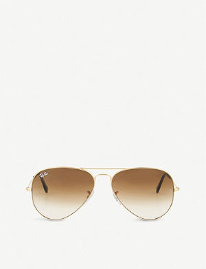 RAY-BAN Original aviator metal-frame sunglasses with brown gradient lenses RB3025 58