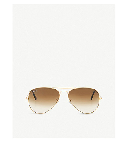 RAY-BAN Original aviator metal-frame sunglasses with brown gradient lenses RB3025 58 (Arista