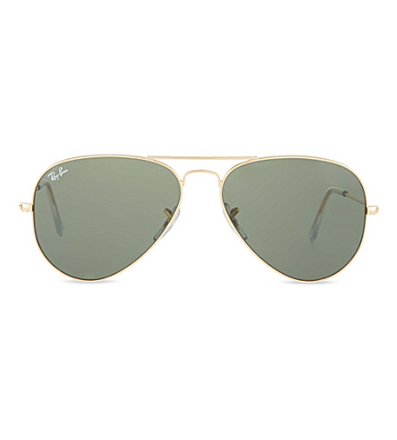 RAY-BAN Original aviator metal-frame sunglasses with green lenses RB3025 58 (Arista