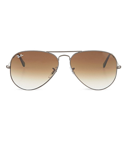 RAY-BAN Original aviator gunmetal-frame sunglasses with brown with gradient lenses RB3025 58