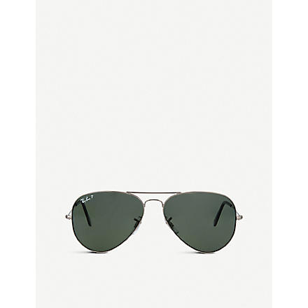RAY-BAN Gunmetal aviator sunglasses