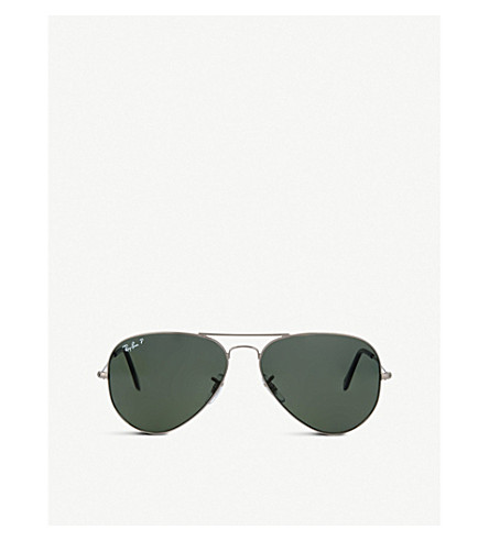 RAY-BAN Original aviator gunmetal-frame sunglasses RB3025 58