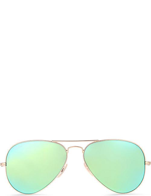 RAY-BAN Original aviator gunmetal-frame sunglasses with green lenses RB3025 58