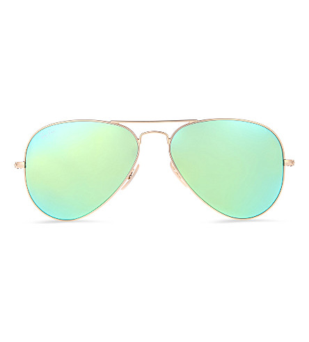 RAY-BAN Original aviator gunmetal-frame sunglasses with green lenses RB3025 58 (Matte+gold