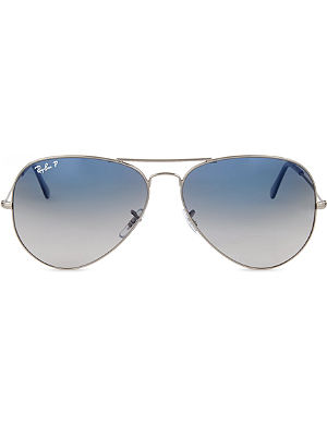 RAY-BAN Original aviator gunmetal-frame sunglasses with blue lenses RB3025 62