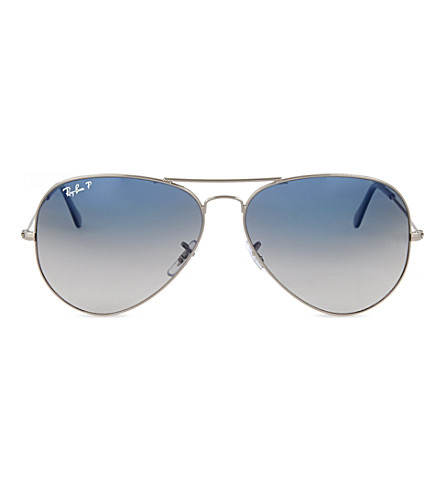 RAY-BAN Original aviator gunmetal-frame sunglasses with blue lenses RB3025 62 (Gunmetal
