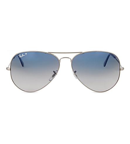 RAY-BAN Original aviator gunmetal-frame sunglasses with blue lenses RB3025 62 (Gunmetal